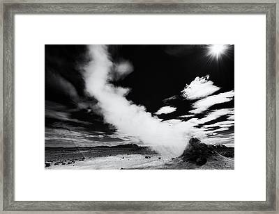 Hot And Steaming Iceland Black And White Framed Print by Matthias Hauser