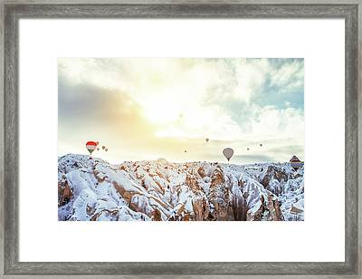 Hot Balloon In The Morning Framed Print by Shan.shihan
