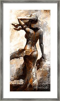 Hot Breeze - Digital Color Version Rust Framed Print