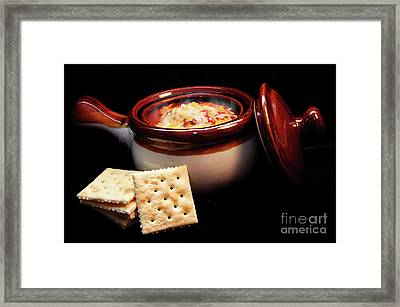 Hot Chili With Cheese And Crackers Framed Print by Andee Design