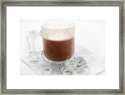 Hot Chocolate And Candy Coated Pretzels Framed Print