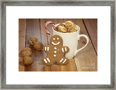 Hot Cocoa And Gingerbread Cookie Framed Print
