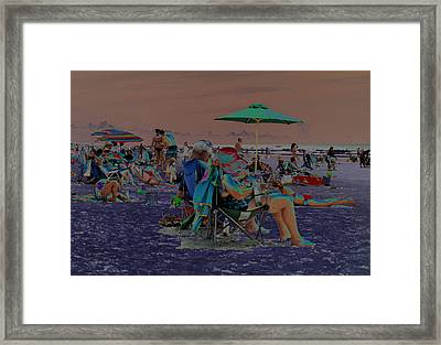 Hot Day At The Beach - Solarized Framed Print by Suzanne Gaff