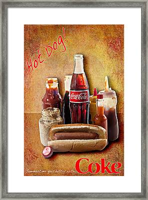 Hot Dog And Cold Coca-cola Framed Print