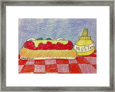 Hot Dog With Mustard Framed Print