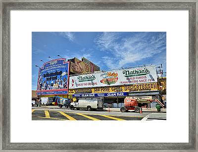 Hot Dogging It To Opening Day Framed Print by Tony Ambrosio