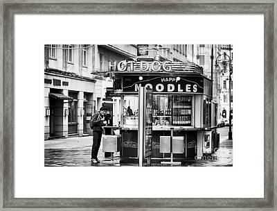 Hot Dogs Or Noodles Framed Print by John Rizzuto