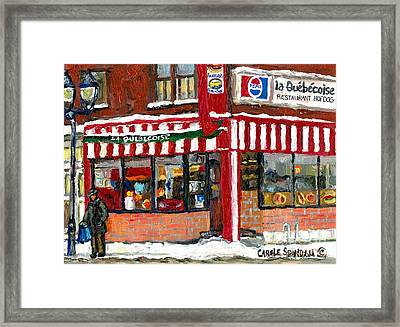 Hot Food On A Cold Day Quebec Restaurant Winter Scene Paintings Waiting For The Bus Montreal Art  Framed Print
