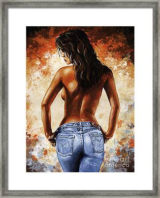 Hot Jeans 02 Blue Framed Print