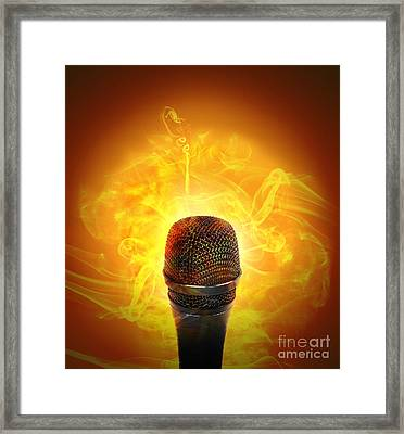 Hot Music Microphone Burning Framed Print by Angela Waye