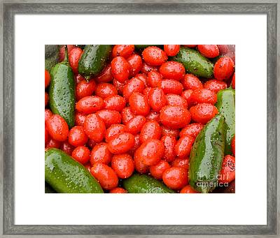 Hot Peppers And Cherry Tomatoes Framed Print by James BO  Insogna