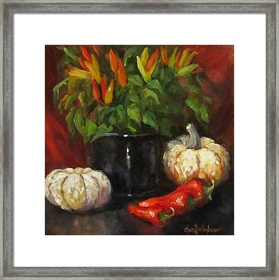 Hot Peppers And Gourds Framed Print