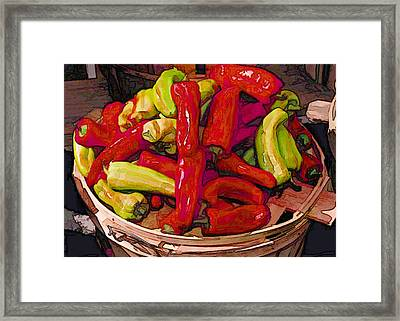 Hot Peppers In A Basket Framed Print