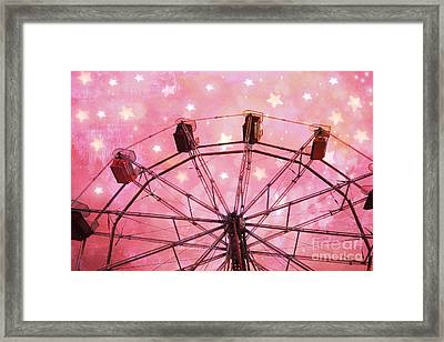 Hot Pink Ferris Wheel With Stars -  Fantasy Carnival Ride - Pink Ferris Wheel With White Stars  Framed Print