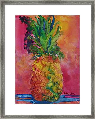 Hot Pink Pineapple Framed Print