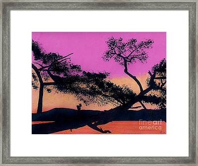 Framed Print featuring the drawing Hot Pink Sunset by D Hackett