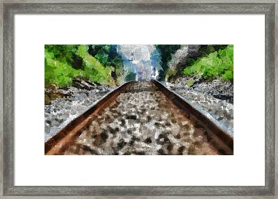 Hot Railroad Tracks Summer Day Framed Print by Dan Sproul