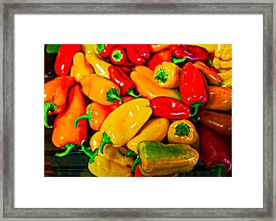 Hot Red Peppers Framed Print