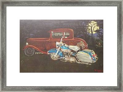 Hot Rod And Harley Framed Print by Russell Boothe