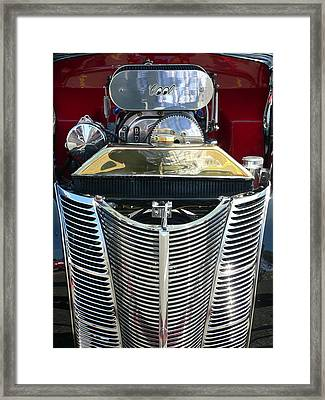 Framed Print featuring the photograph Hot Rod Polished Steel Engine And Grill by Jeff Lowe