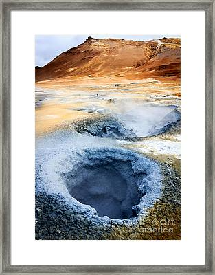 Framed Print featuring the photograph Hot Springs At Namaskard In Iceland by Peta Thames