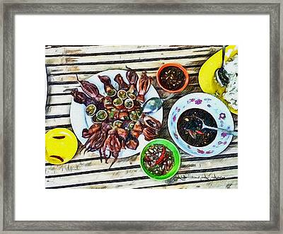 Hot Squid Delicacy Framed Print