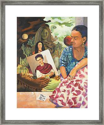 Hot Ticket Frida Kahlo Meta Portrait Framed Print
