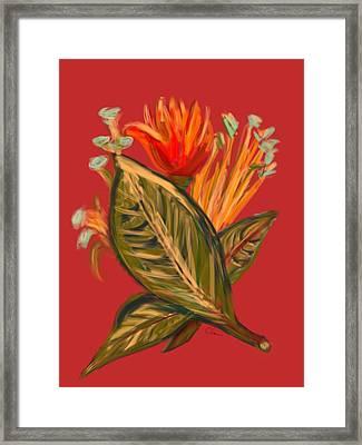 Framed Print featuring the digital art Hot Tulip L by Christine Fournier