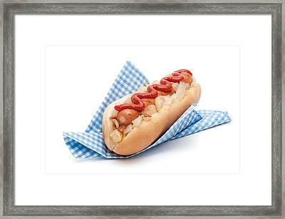 Hotdog In Napkin Framed Print by Amanda Elwell
