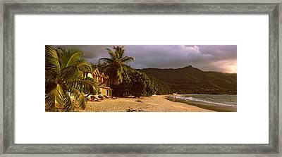Hotel Apartments On Beau Vallon Beach Framed Print by Panoramic Images