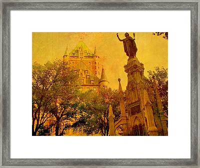 Hotel Chateau Frontenac And  Statue Framed Print by Rick Todaro