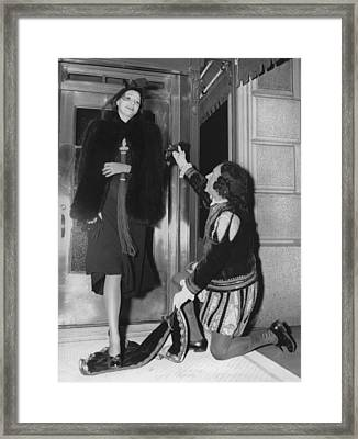 Hotel Chivalry For Guest Framed Print by Underwood Archives