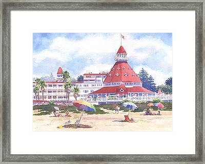 Hotel Del Coronado Beach Framed Print by Mary Helmreich