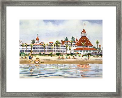 Hotel Del Coronado From Ocean Framed Print by Mary Helmreich