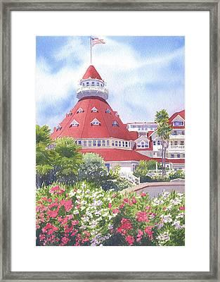 Hotel Del Coronado Palm Trees Framed Print by Mary Helmreich