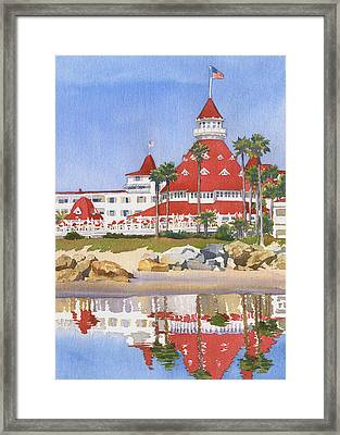 Hotel Del Coronado Reflected Framed Print by Mary Helmreich