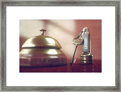 Hotel Key And Bell Framed Print by Ktsdesign/science Photo Library