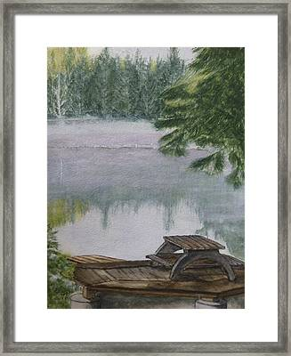 Framed Print featuring the painting Hotel Lake Resort In Bc by Kelly Mills