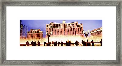 Hotel Lit Up At Night, Bellagio Resort Framed Print