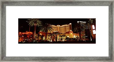 Hotel Lit Up At Night, Monte Carlo Framed Print