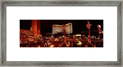 Hotel Lit Up At Night, The Mirage, The Framed Print by Panoramic Images