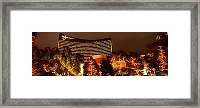 Hotel Lit Up At Night, Wynn Las Vegas Framed Print