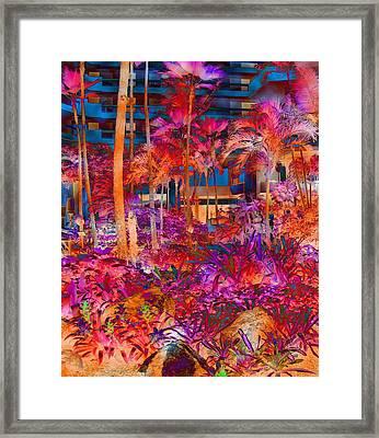 Hotel Lobby In Maui Framed Print by Connie Fox