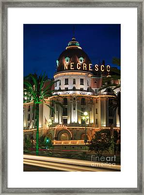 Hotel Negresco By Night Framed Print
