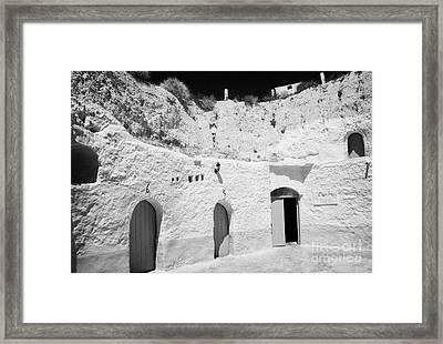 hotel room cave accomodation Sidi Driss Hotel underground at Matmata Tunisia scene of Star Wars films Framed Print