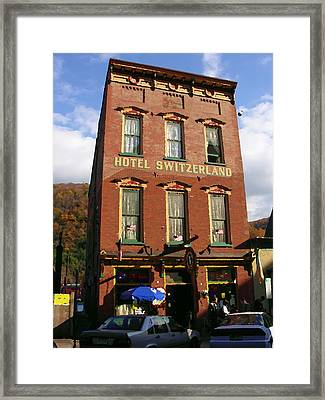 Hotel Switzerland In Jim Thorpe Pa Framed Print by Jacqueline M Lewis