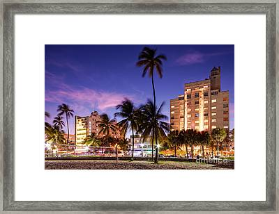 Hotel Victor And The Tides On Ocean Drive - Miami Beach South Beach Art Deco District - Florida Framed Print