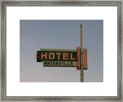 Hotel Waterville Neon Sign Framed Print