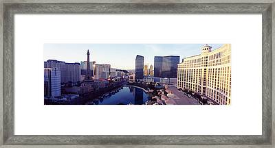 Hotels In A City, The Strip, Las Vegas Framed Print by Panoramic Images