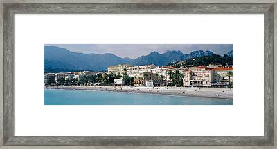 Hotels On The Beach, Menton, France Framed Print by Panoramic Images